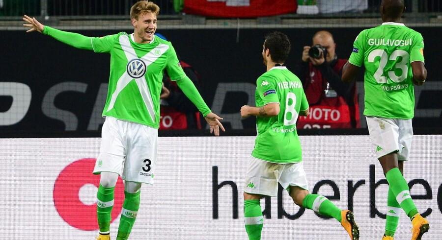 Bendtner i Europa League-kampen mod Krasnodar, hvor han scorede to gange. Mod Schalke 04 scorede han igen.