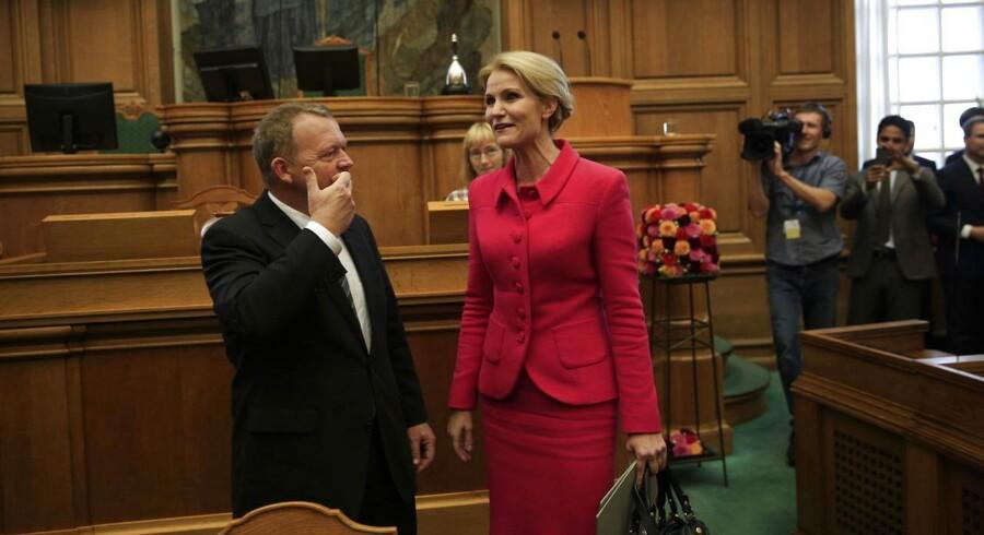 Folketingets åbning tirsdag d. 7. oktober 2014. Lars Løkke Rasmussen og Helle Thorning-Schmidt i Folketingssalen. (Foto: Thomas Lekfeldt/Scanpix 2014)