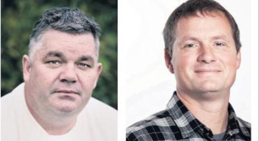 Frank Rasmussen, stifter af bl.a. Telmore og Bibob, dyster mod daytraderen Søren Adelvard (th.) i Berlingsk Business Aktiespil