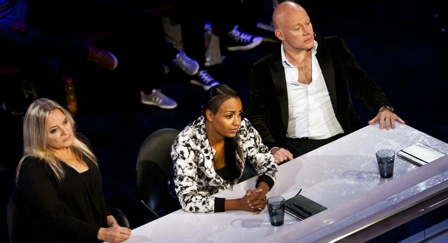 Audition på X Factor med Anne Linnet, Ida Corr og Thomas Blachman som dommere.