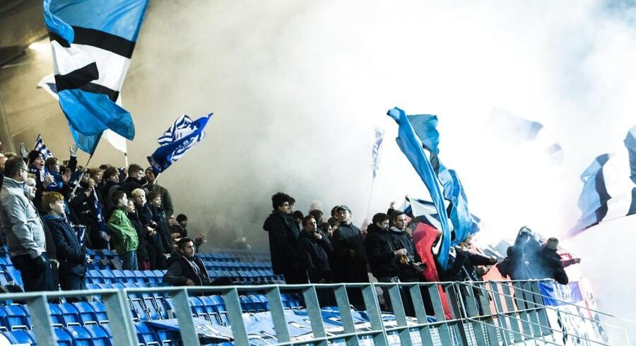 Pokalkamp mellem Randers FC og Lyngby Boldklub på Lyngby stadion onsdag d. 29/10-2014. Her ses Lyngby Boldklubs fans.