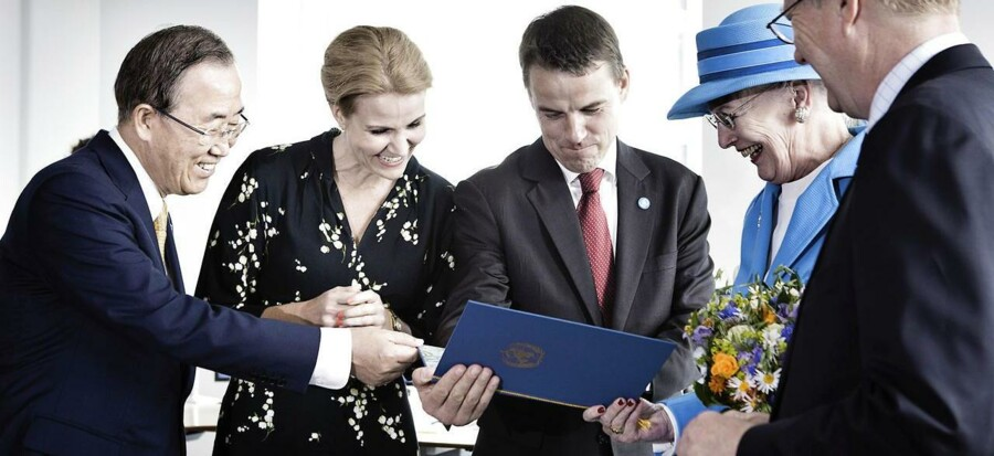Åbning af FN Byen i København 4. juli 2013: Dronning Margrethe, statsminister Helle Thorning-Schmidt, FNs generalsekretær Ban Ki-moon og daværende udviklingsminister Christian Friis Bach (R) deltog i åbningen.