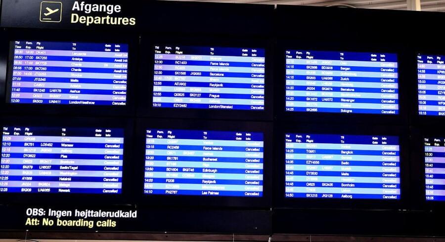 Aflysninger over hele linjen i Københavns lufthavn Kastrup da en Islandsk askesky lammede flytrafikken i april 2010.