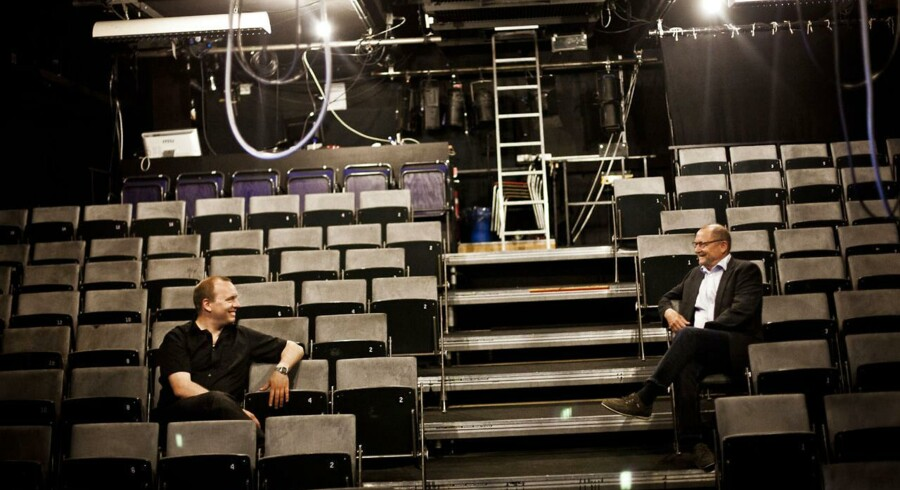 Teaterdirektør Martin Lyngbo og kulturudvalgsformand Flemming Villadsen i Mungo Parks nuværende teatersal, der er blevet alt for lille.