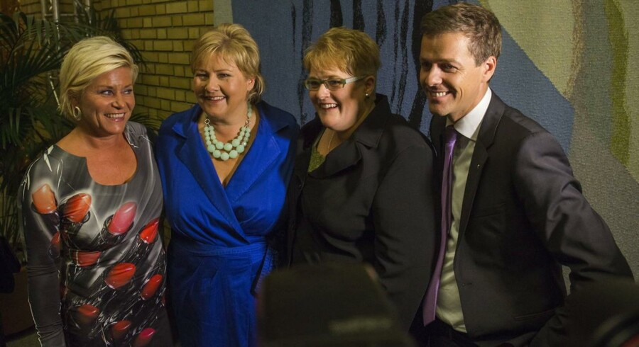 Norges hidtidige opposition vandt mandag 9. sept. 2013 valget. Fra venstre er det Siv Jensen fra Fremskritsspartiet, Erna Solberg fra Høyre, Trine Skei Grande fra Venstre og Knut Arild Hareide fra Kristelig Folkeparti, som nu skal danne regering i de kommende dage.