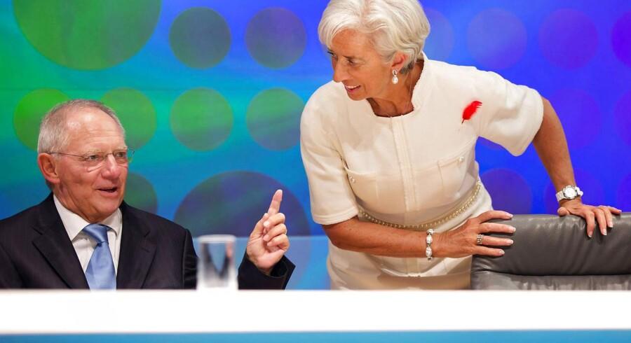 Den tyske finansminister Wolfgang Schäuble og IMF-chefen Christine Lagarde spiller to af nøglerollerne i opblødningen af en europæiske gældskrise.