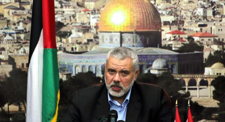 Angrebet skadede ifølge Gazastribens indenrigsministerium Ismail Haniyehs (foto) hjem betydeligt