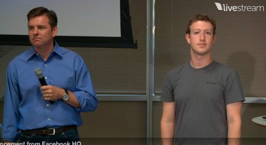CEO for Skype, Tony Bates side om side med Facebook-CEO, Mark Zuckerberg.
