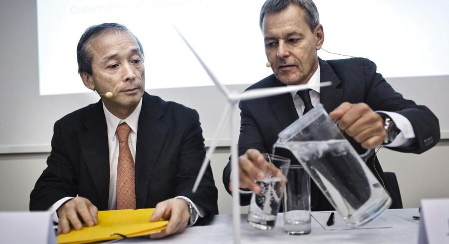 Jin Kato fra Mitsubishi og Jens Tommerup fra Vestas på pressemødet hvor partnerskabet mellem de to virksomheder blev præsenteret.