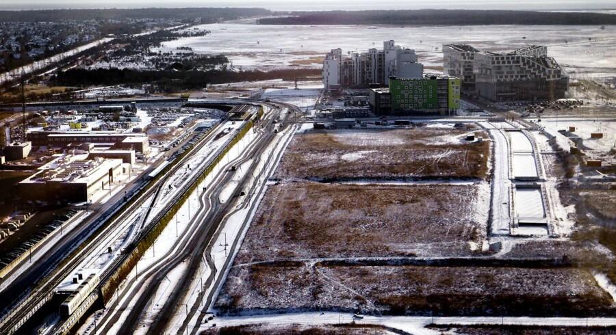 Her kan en ny Metro station se dagens lys: Ørestad Syd kommer til at ligge ved den kommende Copenhagen Arena.