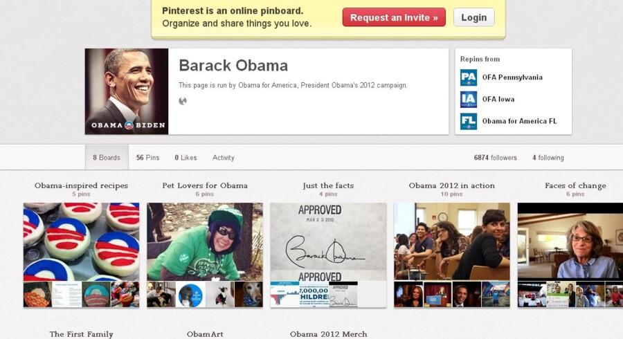 Obamas nye profil på det sociale netværk Pinterest, der fungerer som en opslagstavle, hvor man kan organisere de ting, der interesserer en og dele dem med andre.