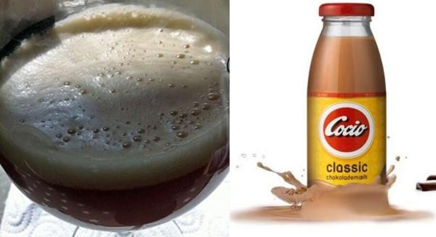 Til venstre et glas med den nye 'Cocio Bajer' fra bryggeriet Mikkeller i København. Til højre den klassiske chokolademælk, som Mikkeller har lånt navnet fra.
