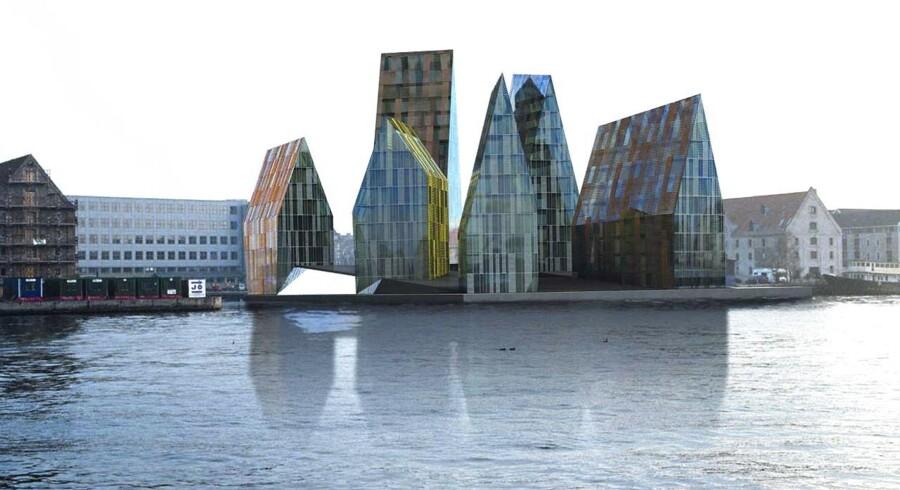 Modelfoto af det planlagte højhusbyggeri tiltænkt Krøyers Plads på Christianshavn.