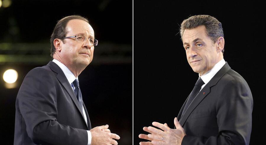 Det er Sarkozys (th) sidste chance for at vinde de nødvendige, franske stemmer, når han i aften udfordrer sin modkandidat Hollande (tv) i præsidentvalgkampens eneste TV-debat mellem de to.