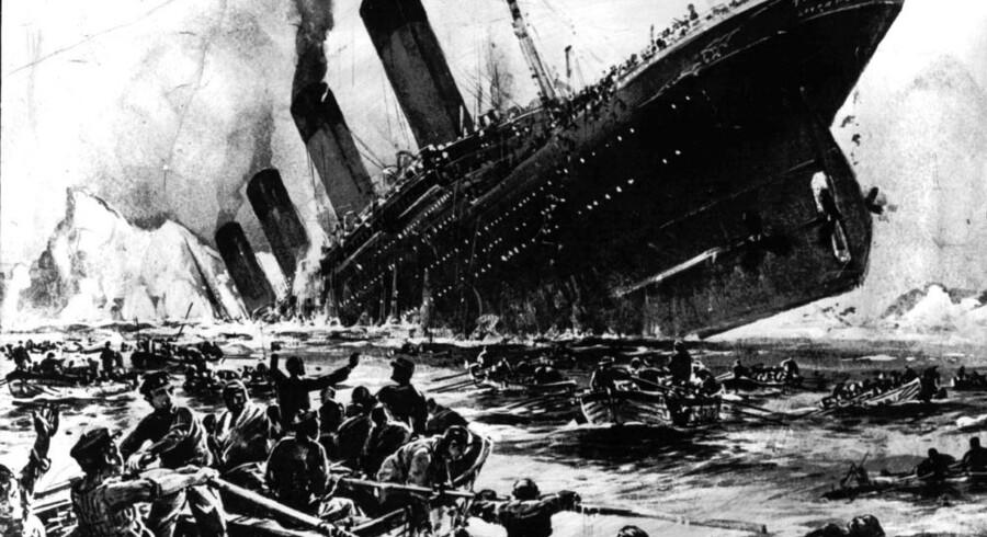 Tegning af Titanics forlis i 1912.