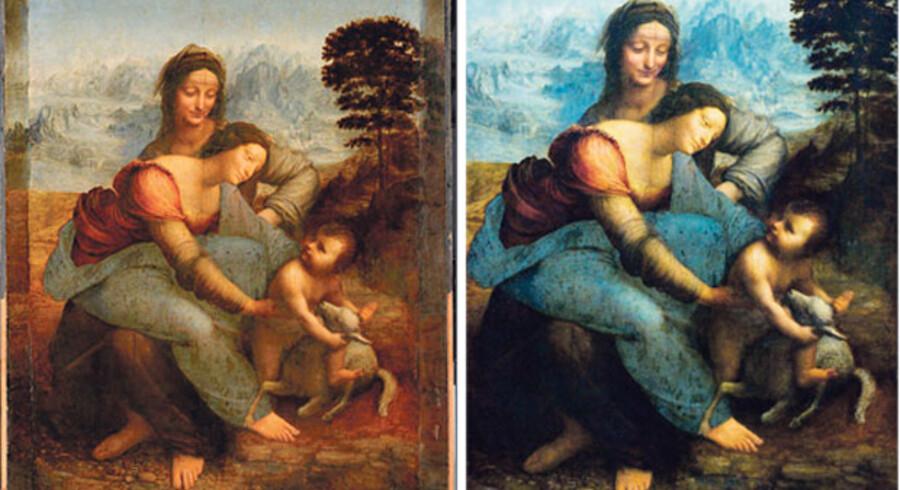 Rengøringen af et Leonardo da Vinci-maleri har skabt furore i kunstverdenen, da rengøringstornadoen angiveligt blev lidt for effektiv. Til venstre ses maleriet før rengøring, til højre efter rengøring.