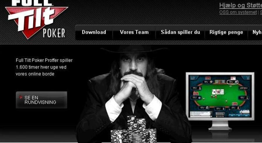 Skærmpump fra Full Tilt Pokers hjemmeside, der pt. står som at være under systemopdatering.
