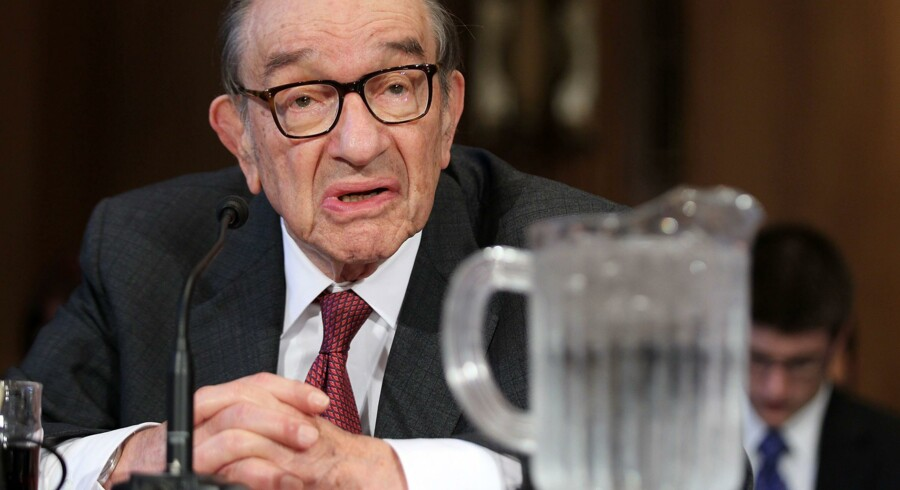 Menneskets grådighed kan ikke styres, og vi må indse, at den her krise hverken bliver den første eller den sidste, fastslår USAs tidligere nationalbankdirektør, 87-årige Alan Greenspan, på et møde i Washingtons nationale presseklub. Foto: Alex Wong/Getty Images/AFP