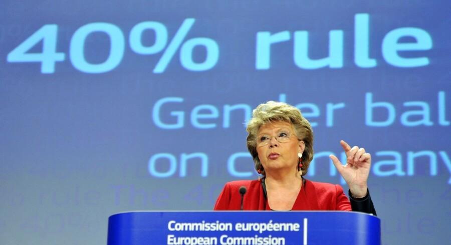 EUs justitskommisær Viviane Reding har onsdag skaffet flertal for et lovforslag, der skal sikre mindst 40 procent kvinder i europæiske virksomhedsbestyrelser. Ifølge en dansk EU-ekspert bliver effekten dog begrænset.
