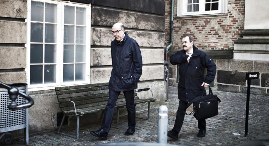 Tidligere chefpolitiinspektør Per Larsen ankommer til Østre Landsret den 14. marts 2012 for at vidne i sagen om PET's omstridte rolle i efterforskningen af Blekingegadebanden.