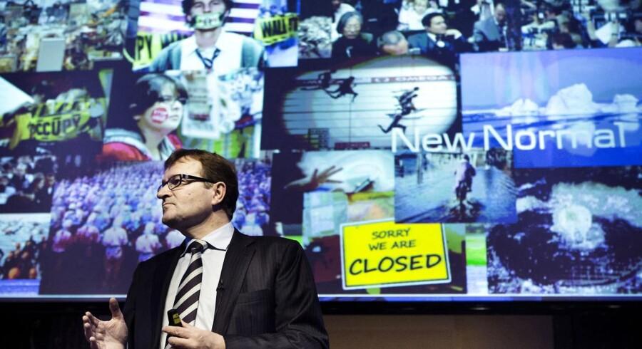Danske Banks ordførende direktør Eivind Kolding fremlagde i oktober sin nye strategi og kampagne - inklusive billeder fra Occupy-bevægelsen.