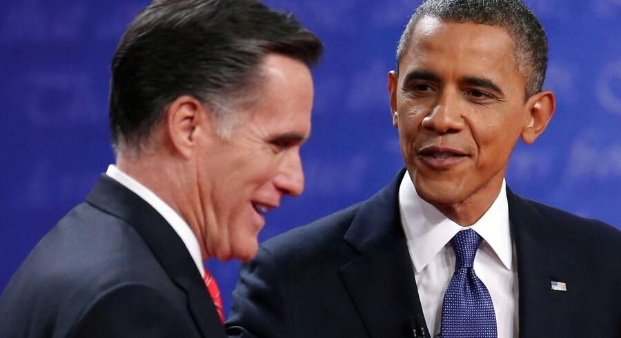 De to amerikanske præsidentkandidater Mitt Romney og Barack Obama.