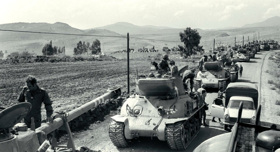 An Israeli tank unit forms for a counter-attack against Syria on the Golan Heights 08 October 1973.