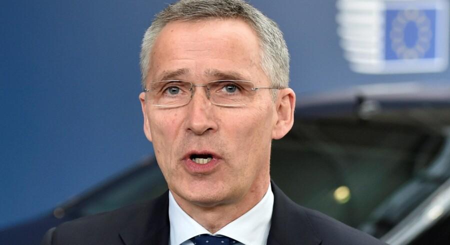 Natos generalsekretær Jens Stoltenberg, beskyldes for, at tale negativt om præsident Donald Trump. Han skulle have sagt, at Trump kun er i stand til at interessere sig for et givent emne i 12 sekunder ad gangen. Stoltenberg afviser beskyldningerne. Reuters/Eric Vidal