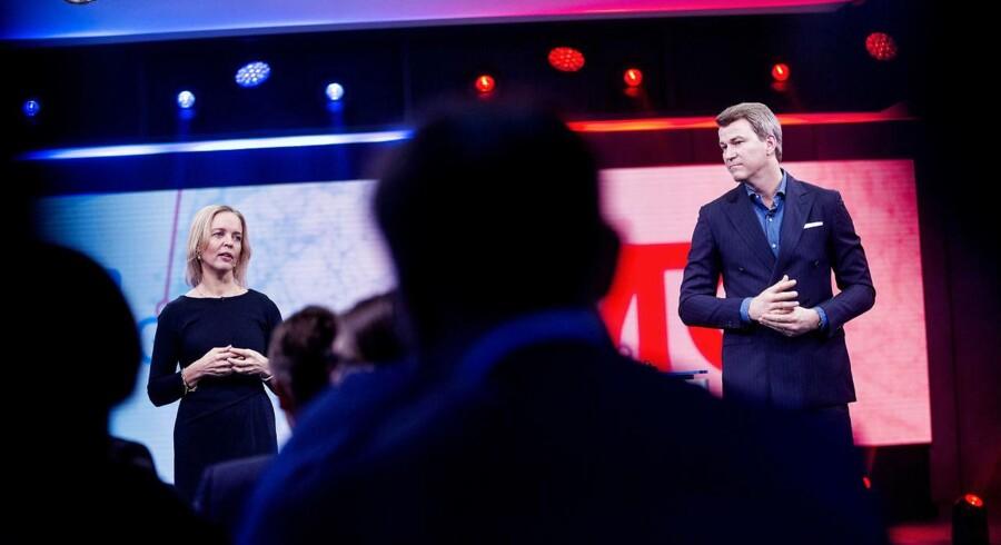 TDCs eget opkøb af underholdningskoncernen MTG, som TDCs topchef Pernille Erenbjerg og MTG Nordics topchef Anders Jensen præsenterede 1. februar, lægger pres på både TDC selv og eventuelle købere af telegiganten. Arkivfoto: Uffe Weng, Scanpix