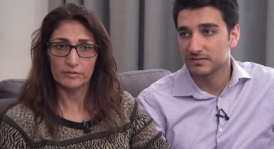 Flora og Farhad Neda - mor og søn - der som de eneste kom ned fra 23. etage. Floras mand, Saber, døde i forsøget på at komme ned. Billedet er taget fra Channel 4s opsigtsvækkende interview med parret onsdag aften.