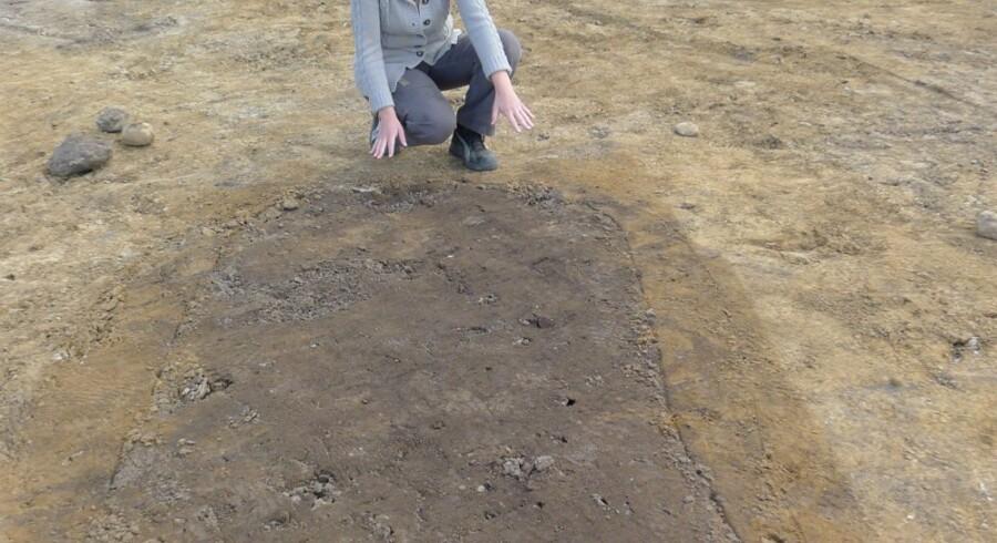 Arkæolog Maria Thiemke foran den såkaldte vognfadinggrav, der rummer en kvinde af høj status. Free/Videnskab.dk