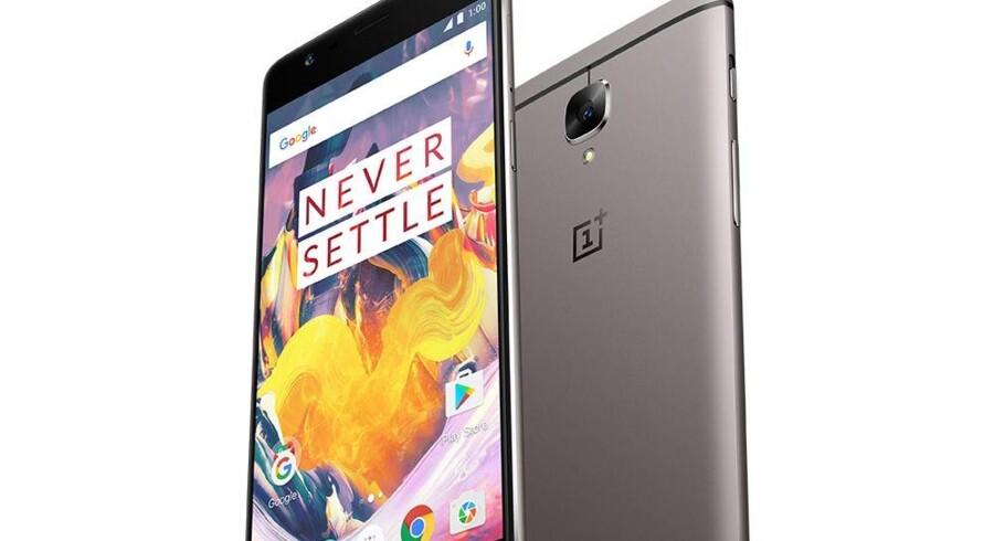 OnePlus 3T-telefonerne bliver fra tirsdag i denne uge solgt gennem »3«s butikker. Foto: OnePlus