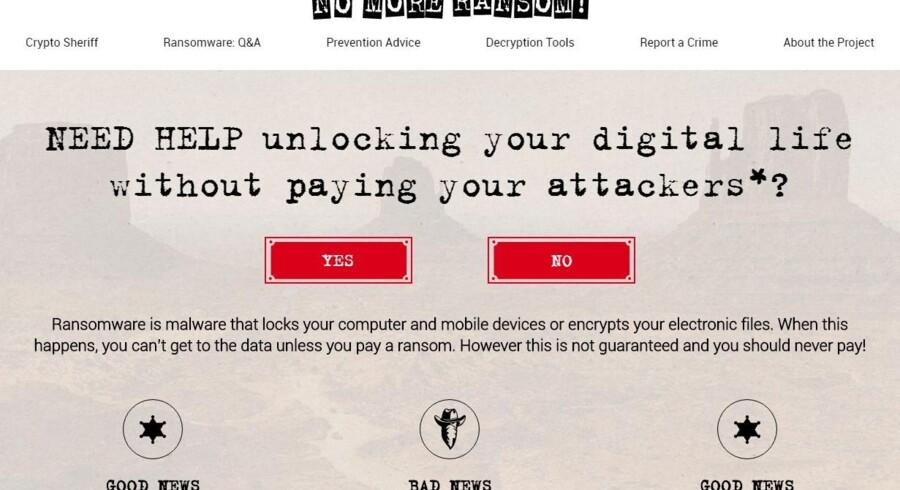 På netstedet www.nomoreransom.org offentliggøres de kendte koder, som skal til for at slippe af med computervira, der låser ens filer.