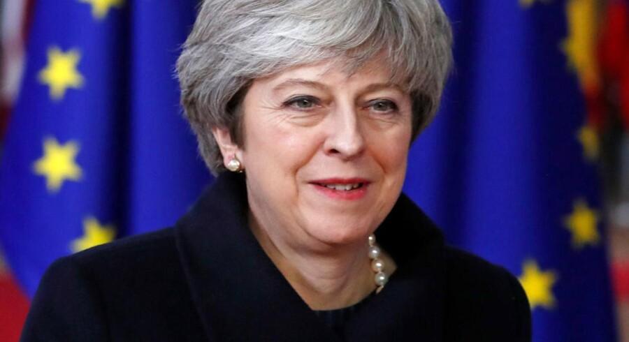 Theresa May ved ankomsten til EU-topmøde i Bruxelles.