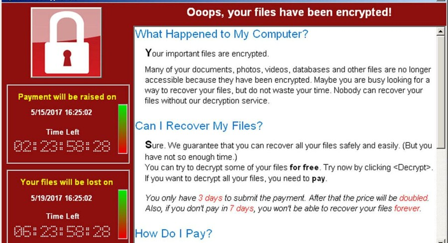 (ARKIV) A screenshot shows a WannaCry ransomware demand, provided by cyber security firm Symantec, in Mountain View, California, U.S. May 15, 2017. Courtesy of Symantec/Handout.Se Ritzau: Globalt cyberangreb ebber ud trods flere løsepenge. Tirsdag ser det globale it-angreb, der via programmet WannaCry låser computere og kræver løsepenge, ud til at være ved at være igennem sin værste hærgen.
