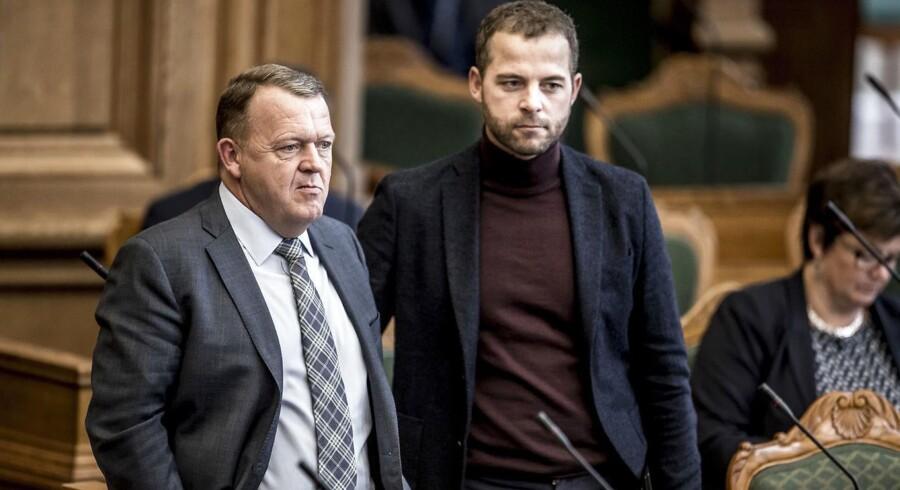 Lars Løkke Rasmussen (V) og Morten Østergaard (R) under Folketingets åbningsdebat i folketingssalen på Christiansborg 5. oktober 2017.