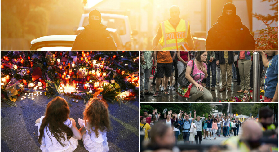 Nederst th: Efter skyderiet i Olympia Einkaufzentrum i München sikrer bevæbnede politibetjente, at folk trygt kan blive evakueret fra indkøbscentret, hvor en 18-årig tysk-iraner dræbte ni og sårede flere end 20 mennesker, inden han begik selvmord. Foto: AFP/ScanpixMidten th: En kvinde lægger blomster til minde for ofrene i München. Foto: Mauricio LimaNederst tv: I dagene efter angrebet ved Olympia Einkaufszentrum i München lagde mange blomster og tændte stearinlys for ofrene, der primært var teenagere som gerningsmanden selv. Efter en uhørt blodig juli måned, spørger mange tyskere, om det er en ny virkelighed, som de er nødt til at indstille sig på – og hvad politikerne har tænkt sig at gøre for at sikre borgernes sikkerhed. Foto: AFP/ScanpixTop: Politiet bevogter en gade efter bombeangrebet ved indgangen til en musikfestival i Ansbach, hvor 15 personer blev såret. Gerningsmanden var en 27-årig syrisk asylansøger. Foto: Reuters/Scanpix