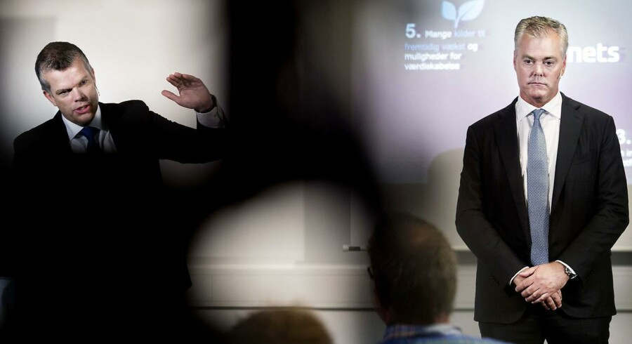 Selskabet Nets, der blandt andet står for NemID og dankort, annoncerer sin børsnotering 1.9.2016 med CEO Bo Nilsson (th.) og Klaus Pedersen. (Foto: Liselotte Sabroe/Scanpix 2016)