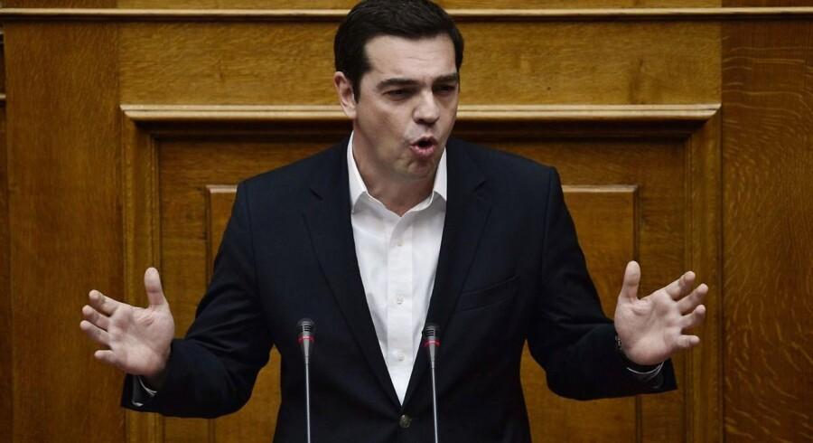 Deb græske premierminister Alexis Tsipras taler i Athen den 24. februar.