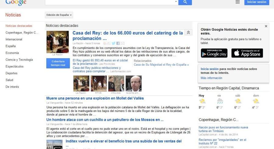 Google News er internetgigantens indsamling af nyhedsoverskrifter fra det enkelte land men er omstridt blandt udgivere, som mener, at Google snylter på deres arbejde. Her er den spanske udgave, Google Noticias, som nu lukker.