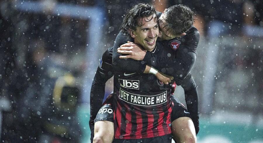 FC Midtjyllands Gustav Wikheim har scoret til 4-0 i Alka Superliga-kampen mellem Randers FC og FC Midtjylland på Bionutria Park i Randers.
