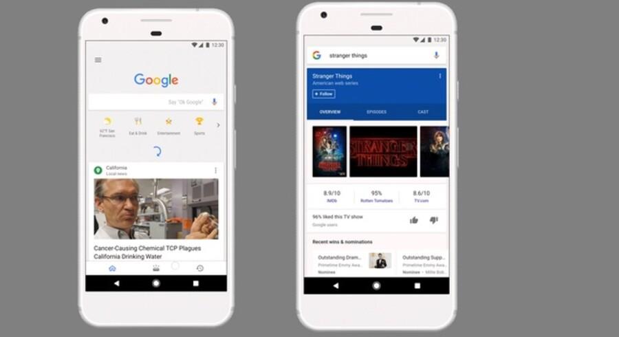 Sådan vil det snart se ud, når man bruger Google-appen på sin mobiltelefon - det er slut med bare at se søgefeltet. Foto: Google