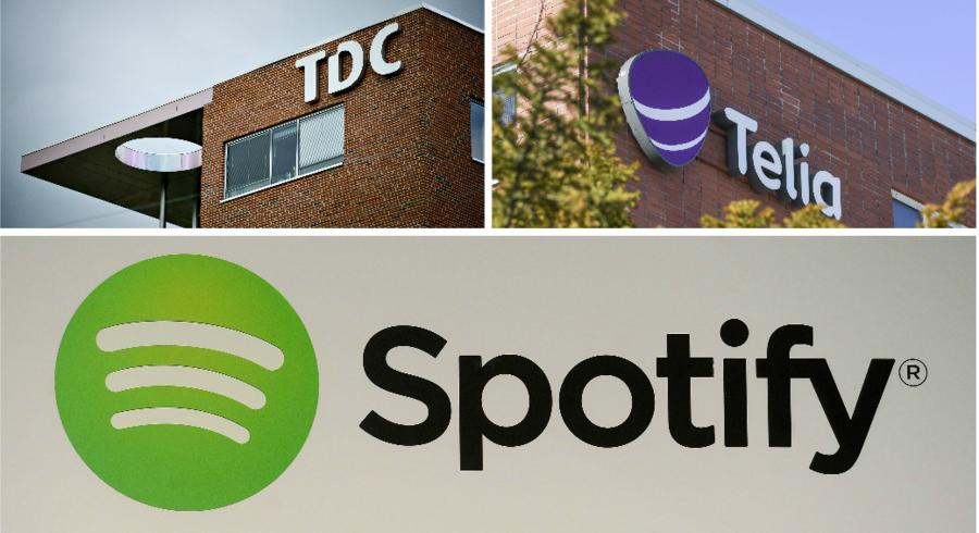 Nordens største telekoncern står til at tjene milliarder på børsnoteringen af Spotify, som Telia købte sig ind i for tre år siden.Fotobyline: TDC: Torkil Adsersen, Telia: Kimmo Brandt og Spotify: Emmanuel Dunand