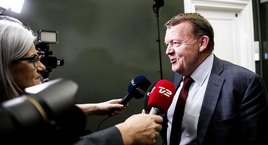 Statsminister Lars Løkke Rasmussen (V) indkaldte DF til et møde onsdag aften d. 6. december 2017 om, hvordan forhandlingerne om en skattereform og finansloven skal fortsætte. (Foto: Bax Lindhardt/ Scanpix)
