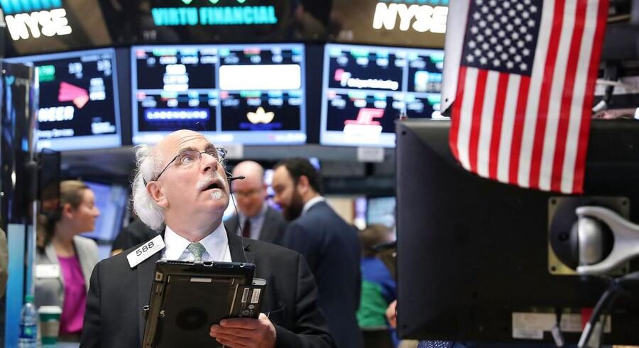 Trader på gulvet i New York Stock Exchange (NYSE). Foto: Spencer Platt/AFP