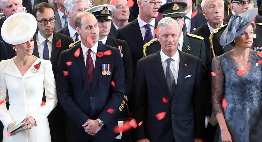 Her ses hertuginde Kate og prins William af Storbritanniens sammen med Belgiens regentpar, kong Philippe og dronning Mathilde. Reuters/Pool