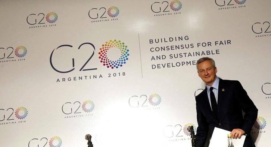 »Vi er nødt til at finde løsninger og definere på et multilateralt- og G20-niveau en retfærdig og effektiv regulering,« lød meldingen fra Frankrigs finansminister Bruno Le Maire i forbindelse med krypto-aktiver til G20 i Buenos Aires. REUTERS/Marcos Brindicci