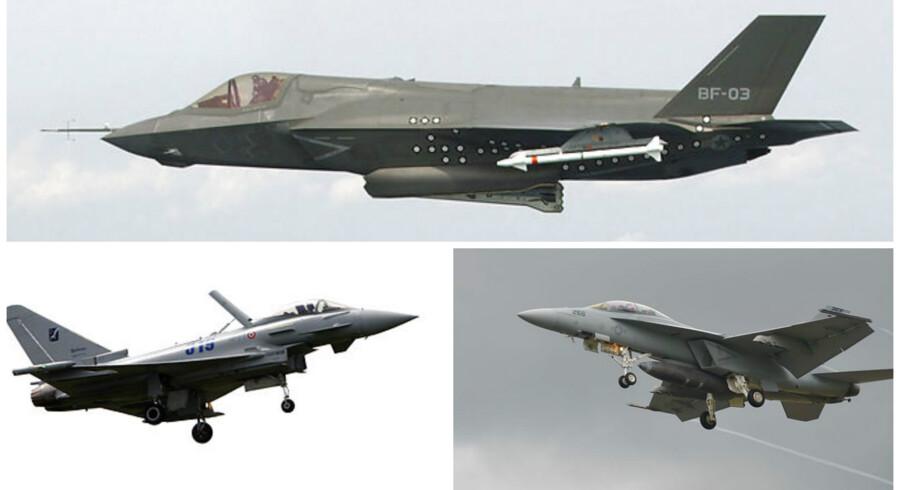 De tre kandidater til at blive Danmarks nye kampfly. Øverst ses den model, regeringen peger på, F-35 Joint Strike Fighter. Nederst tv. Eurofighter Typhoon og nederst th. er det F-18 Super Hornet.