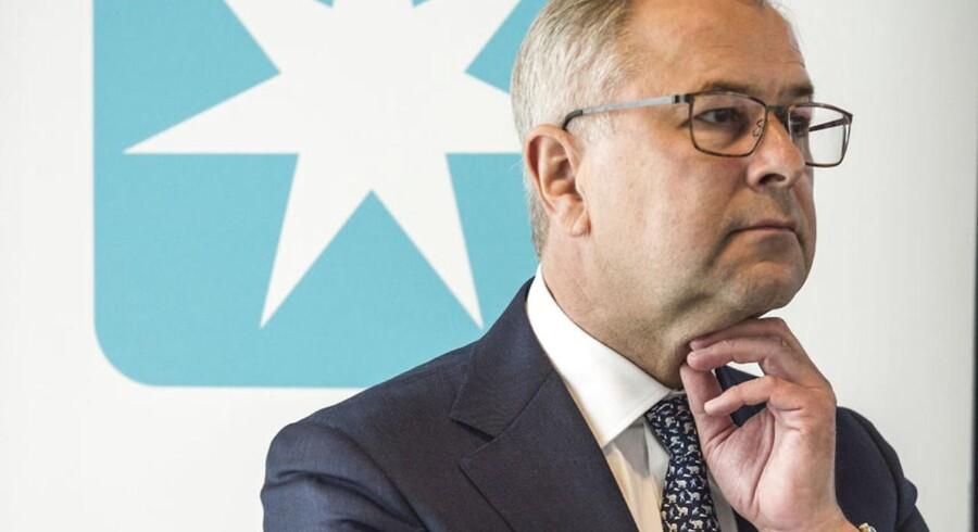 Mærsk pressemøde - opslidtning. Group CEO, Søren Skou.