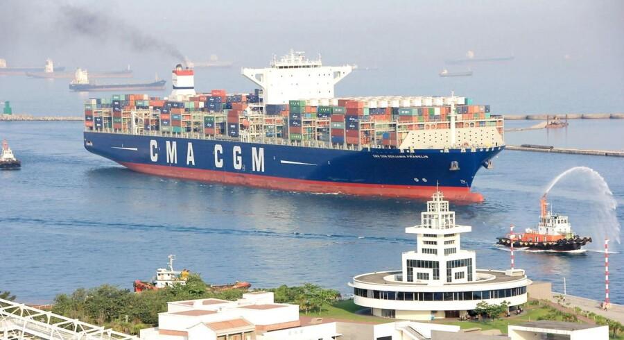 Arkivfoto. Franske CMA CGM, der er det tredjestørste rederi i containerbranchen, blødte på bundlinjen i 2016.